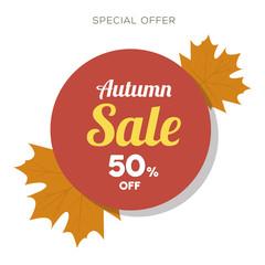 Autumn banner set. Colorful autumn leaves. Poster, card, label, Vector illustration EPS10. Voucher. Gift card. Back to school sale.
