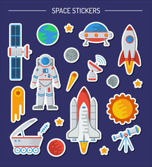 Space stickers collection. Astronaut, the Earth, comet, satellite, rocket, meteorite, ufo, Moon, shuttle, radar, telescope, lunohod, stars, Mars. Flat vector illustration.