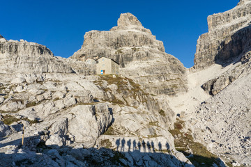 Shadows of hikers in Adamello Brenta National Park, South Tyrol / Italy