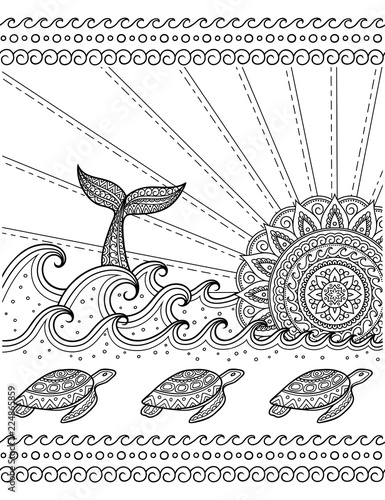 whale diving into sea against the sunset and seamless wave pattern Food Web with Organisms coloring book page antistress ocean landscape with waves mandala in form of sun fish tail