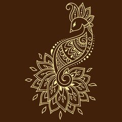 Mehndi flower pattern with peacock for Henna drawing and tattoo. Decoration in ethnic oriental, Indian style.