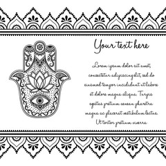 Set of Mehndi ancient hand drawn symbol Hamsa pattern and seamless border for Henna drawing and tattoo. Decoration in oriental, Indian style.