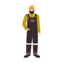 Residential plumber, drain or pipe cleaning service worker wearing overalls and hard hat. Smiling male cartoon character isolated on white background. Colored vector illustration in flat style.