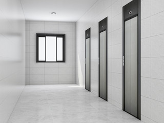 Elevators and corridors in the building