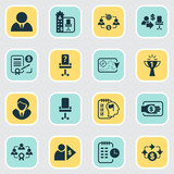 business management icons set with cash flow business strategy