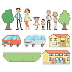 家族 3世帯 自家用車 自宅 セット