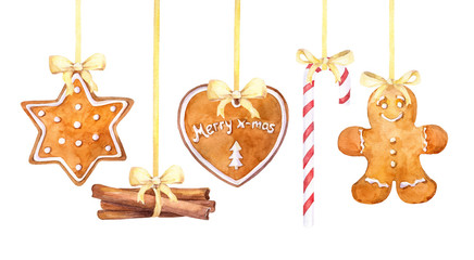 Christmas gingerbread cookies, candy cane and cinnamon sticks hanging border on a white background. Watercolor hand drawn illustration.