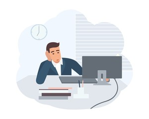 Office worker dressed in smart suit sitting at desk and working on computer. Clerk at its workplace. Scene from daily life of ordinary person. Colorful vector illustration in flat cartoon style.