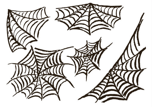 Halloween. Set cobwebs. Vector illustration. Collection of festive elements. Autumn holidays. Fun, children, traditions