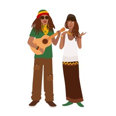 Rastafari couple. Man wearing rastacap and playing guitar and woman standing together. Boyfriend and girlfriend. Rastafarianism movement or counterculture. Flat cartoon colorful vector illustration.