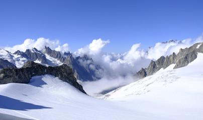 Alpine landscape. Mont Blanc Massif of Italian Alps.
