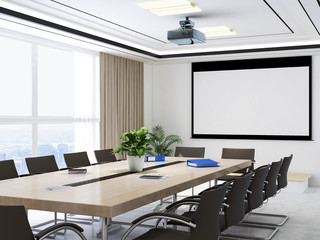 Large conference room, wooden table, chairs and projections