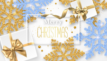 Merry Christmas shiny card with beautiful snowflakes and gifts.