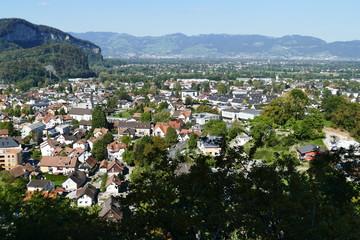 Blick ins Rheintal von der Ruine Montfort (Götzis)