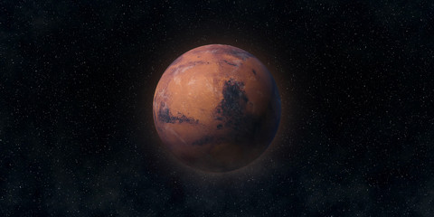Red planet Mars. Astronomy and science concept. Elements of this image furnished by NASA.
