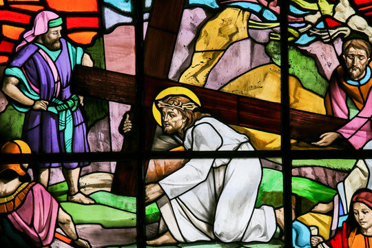 Jesus falls carrying the Cross - Stained Glass