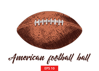 Vector engraved style illustration for posters, decoration and print. Hand drawn sketch of american football ball in colorful isolated on white background. Detailed vintage etching style drawing.