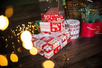 Christmas gifts near traditional decorations