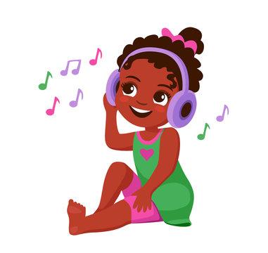 cute little african american girl in headphones listening to music. Cartoon vector illustration