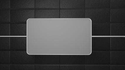 Wall Mural - black tile background copy space 3d render