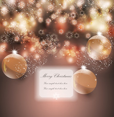Merry Christmas greeting vector illustration with golden glitters, sparkles.