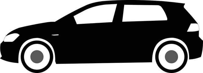 German hatchback, isolated black and white vector car, vw golf, volkswagen
