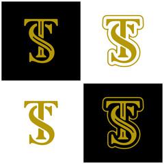 Set of Initial ST logo design vector template