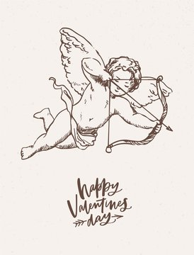 Greeting card, postcard, festive poster template with cute cupid holding bow and arrow and aiming or shooting hand drawn on light background. Monochrome vector illustration for Valentine's day.