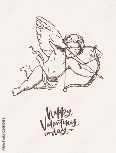 Greeting Card Postcard Festive Poster Template With Cute Cupid