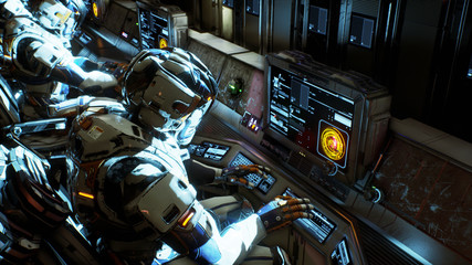 The astronauts on his spacecraft working on a computer. 3D Rendering