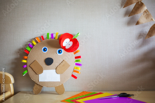 Creative Children S Crafts Made Of Colored Paper And Cardboard