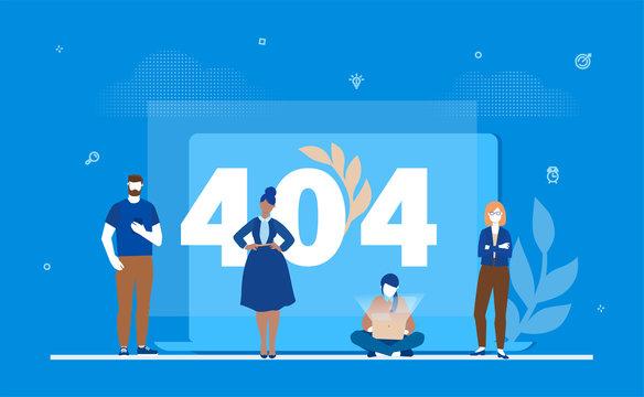 Error 404 page - flat design style colorful illustration
