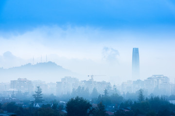 Fog over Las Condes district in Santiago de Chile