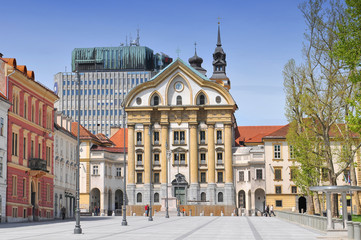 Congress Square and Ursuline Church of the Holy Trinity, Ljubljana Slovenia.
