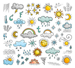 Fototapeta Icons of weather in the doodle style. Set of vector elements.