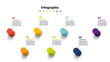 infographic element design 7 step, infochart planning Wall mural