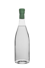 bottle of vodka, moonshine and other strong colourless alcohol with a stopper isolated on a white background