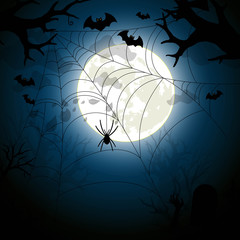 Halloween night illustration vector with moon and spiderweb