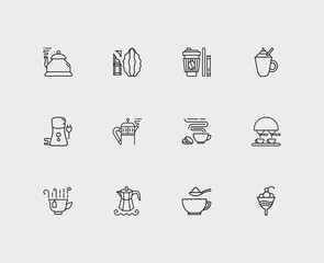 Coffee icons set. Coffee machine and coffee icons with tea cup, paper cup and cacao. Set of fresh for web app logo UI design.