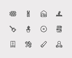 Housekeeping icons set. Remove moss and housekeeping icons with tool, plant and equipment. Set of professional for web app logo UI design.
