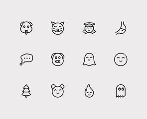 Emoji icons. Set of animal emoji, cute cat and anime kawaii vector sign symbols. Vector illustration of man emoticons set for logo web mobile design.