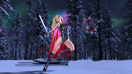 Nordic heroine woman in winter forest at night, Norse mythology superhero girl, ancient warrior princess with medieval weapons, 3D rendering