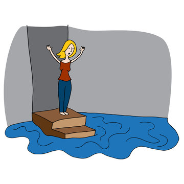 Woman With Flooded Basement