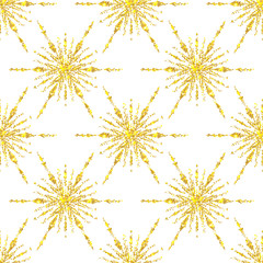 Christmas seamless pattern with golden glitter snowflakes