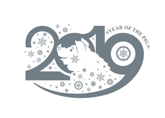 Year of the Pig 2019. Portrait of a happy pig in snowflakes. Vector template New Year's design on the Chinese calendar.