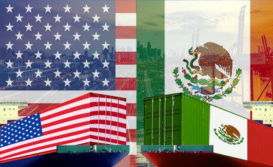 Concept image of  USA - Mexico trade war, Economy conflict, US tariffs, Tax, Trade frictions..