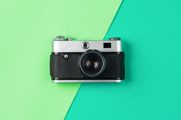 retro camera on color pastel background