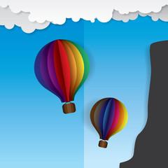 Colorful hot air ballon origami paper art vector illustration