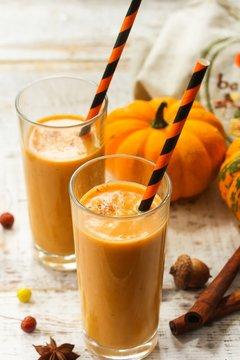Pumpkin Pie Smoothie / Fall Autumn Thanksgiving drink, selective focus