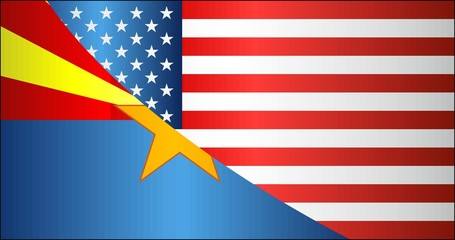 Flag of USA and Arizona state - Illustration, 